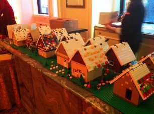 Our LEGO gingerbread house village has been formed.