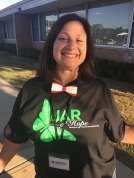 The Principal of Clark Mills with her LEGO Bow Tie.